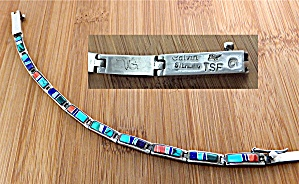 CALVIN BEGAY Sterling Silver Inlay Bracelet (Image1)