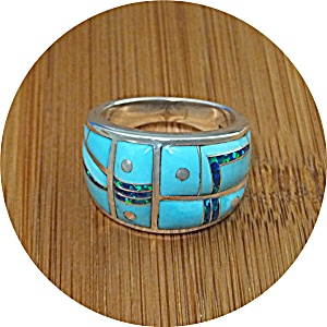 Ring Turquoise Opal Sterling Silver G.l.