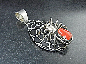 Navajo Sterling Silver Coral Spider And Web Pendant