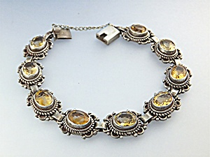 Bracelet Sterling Silver Citrine Push Clasp (Image1)
