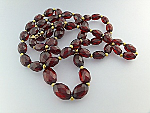Necklace Cherry Amber Gold 12k Gold Fill Beads Clasp