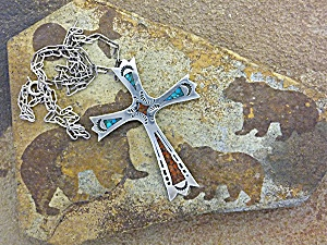 Native American Sterling Silver Chip Inlay Cross Charli