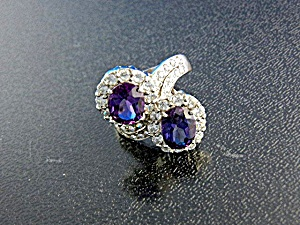 White Sapphire Purple Spinels Sterling Silver Ring (Image1)