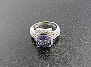 White Sapphires Purple Spinel Sterling Silver Ring  (Image1)