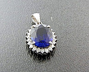 Kashmir Blue And White Sapphire Sterling Silver Pendant