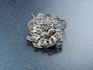 Sterling Silver Filigree Flower Pin