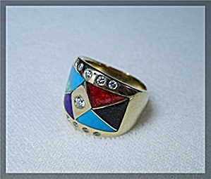 Ring 18k Gold Diamond Turquoise Coral Onyx Opal