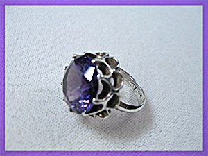 Sterling Silver Amethyst Ring Taxco Mexico JK Eagle 2 (Image1)