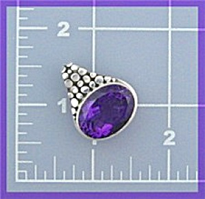 Sterling Silver 15ct Amethyst Oval pendant (Image1)