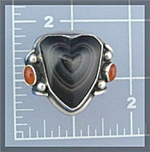 Sterling Silver Black Agate Cornelian Heart Ring (Image1)