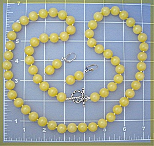 Necklace Gold Jade And Earrings Sterling Silver Clasp
