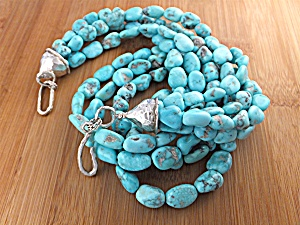 Native American Fox Turquoise Sterling Silver Necklace