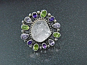 Native American Bea Tom Sterling Silver Amethyst Perido