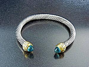 Sterling Silver Twist Blue Topaz CZ Cuff Bracelet (Image1)