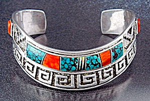 Native American Calvin Begay Sterling Silver Coral Turq (Image1)