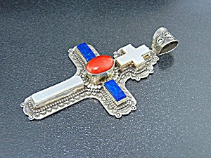 David Troutman Sterling Silver Coral Lapis Mop Cross