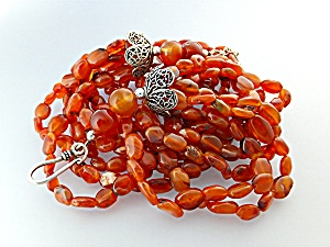 Necklace Carnelian Sterling Silver Clasp 6 Strand (Image1)