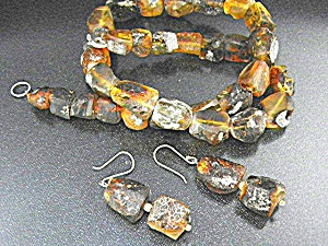 Amber Necklace  Earrings Chiapas Mexico Sterling Silver (Image1)