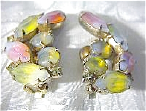 KRAMER Clip Earrings Pink Yellow Rhinestone (Image1)
