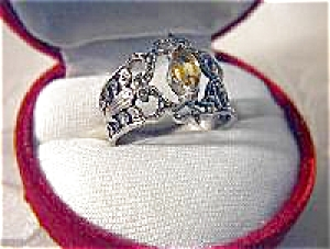 Sterling Silver Filigree Citrine Marquisite Ring . . .