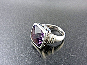 Amethyst Sterling Silver Ring Signed EMA (Image1)
