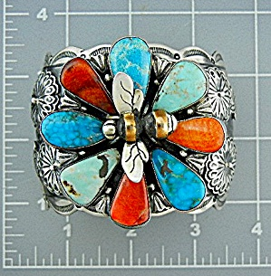 Navajo Sterling Silver Turquoise Coral Flower Bee Cuff