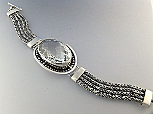 Sterling Silver Bali Crystal Quartz Toggle Bracelet (Image1)