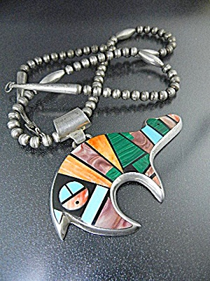 Native American Frank Yellowhorse Sterling Silver Inlay