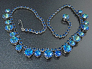 Weiss Blue Crystal Silver Necklace