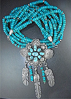 Navajo Sleeping Beauty Turquoise Sterling Silver Pendan