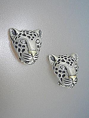 Dian Malouf 14K Gold Sterling Silver Leopard Clip Earri (Image1)