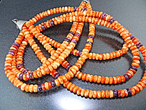 Navajo Orange Purple Spiny Oyster Sterling Silver Neckl