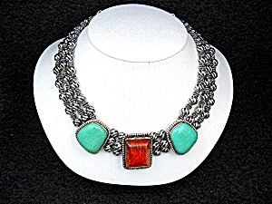 David Troutman Sterling Silver Coral Turquoise Necklac