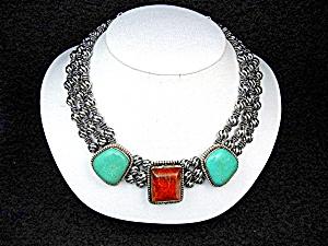 Gundi Sterling Silver Apple Coral Kingman Turquoise Nec (Image1)