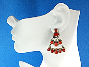 Sterling Silver Coral Chandelier Designer ClipEarrings  (Image1)