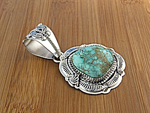 Carico Lake Turquoise Sterling Silver L. Juan Pendant (Image1)