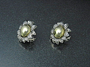 18K Gold Sterling Silver French Clip Earrings (Image1)