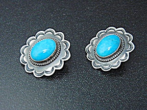 KIRK SMITH Sterling Silver Turquoise Clip Earrings (Image1)
