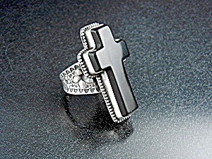 David Troutman Sterling Silver Onyx  Cross Ring (Image1)