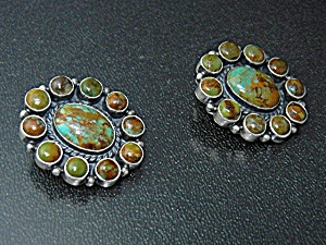 Kirk Smith Sterling Silver Turquoise Clip Earrings