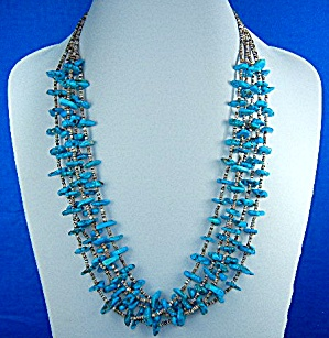 Navajo 5 Strands Turquoise And Heishi Necklace