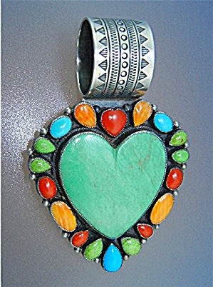 Don Lucas Kingman Turquoise Sterling Silver Coral Heart