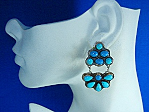 Rocki Gorman Sterling Sliver Turquoise Clip Earrings