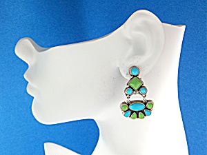 Navajo Gaspeite Turquoise Sterling Silver Clip Earring