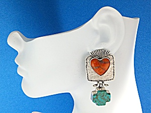 David Troutman & GUNDI Sterling Silver Apple Coral Turq (Image1)