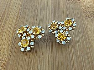 Earrings KRAMER  Citrine Crystal  Flower Clips (Image1)
