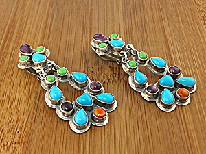 Navajo Sterling Silver Turquoise Gaspeite Spiny Clip Ea