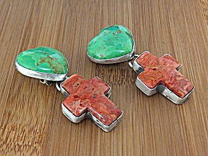 Earrings ROCKI GORMAN Sterling Silver Turquoise Coral C (Image1)