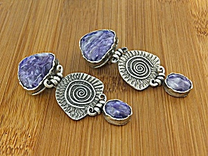 David Troutman Sterling Silver Charoite Clip Earrings