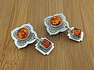 David Troutman Sterling Silver Amber Clip Earrings (Image1)